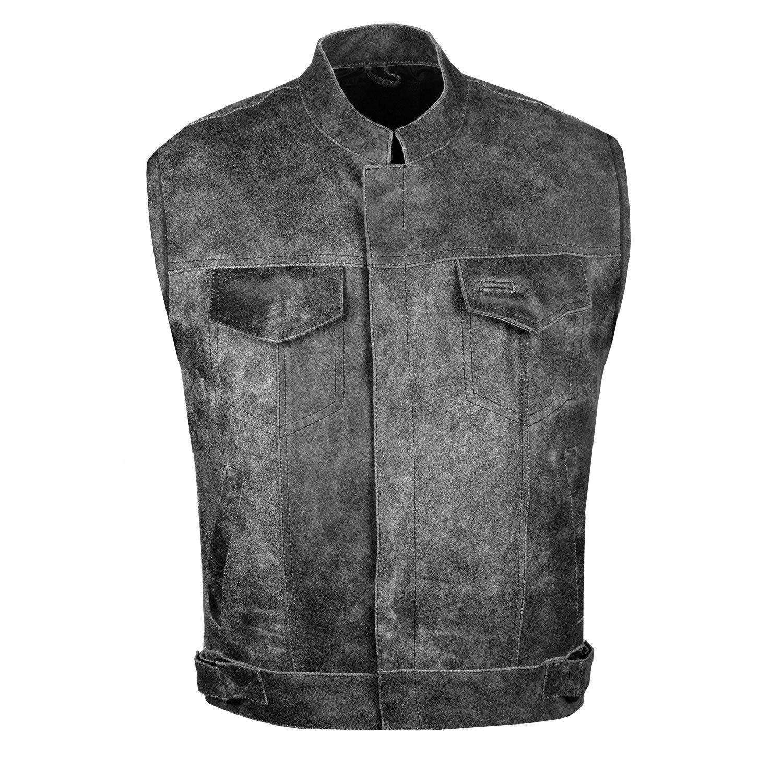 SOA Men Motorcycle Vintage Distressed Club Concealed Gun Pockets Biker Vest L