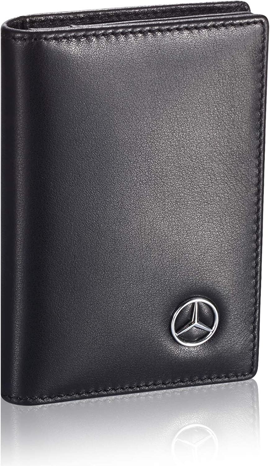 Tuoco Mercedes Benz Business Card Holder with Large Compartment - Full Grain Leather, Black, Small