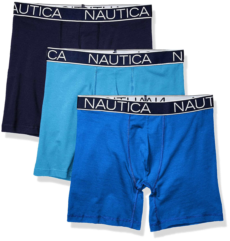 Nautica Mens 3-Pack Classic Underwear Cotton Stretch Boxer Brief