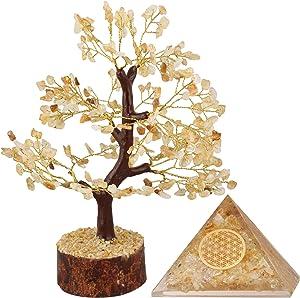PARUHAS Labradorite Tree Orgone Pyramid Feng Shui Tree of Life Bonsai Home Decor Reiki Room Buddha Kitchen Crystal Office Table Good Fortune Luck Gift Statues & Figurines Reiki Healing Generator
