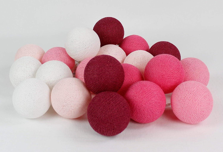 Cotton Ball Lights Pink 10 LED Lichterkette mit USB Anschluss Baumwolle White-Light Soft Bright Cyclaam