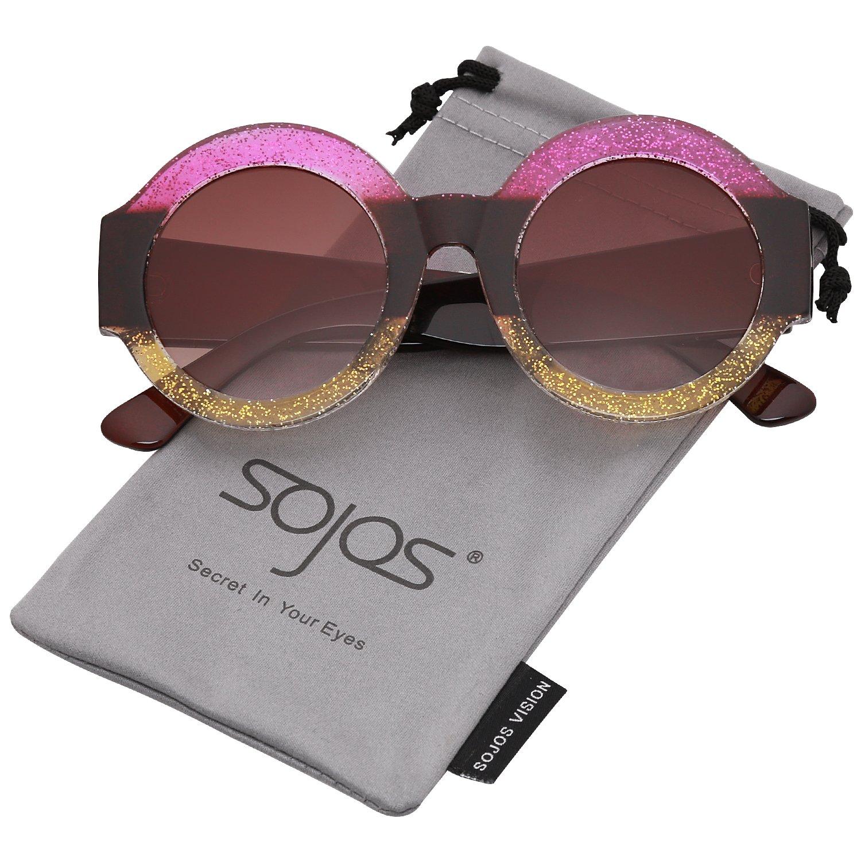 SOJOS Gafas De Sol Mujer Grande Marco Redondas Elegante SJ2047 Marco Rosa Amarillo/Lentes Marrón: Amazon.es: Ropa y accesorios