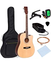 Best Choice Products 41in Full Size Beginner Acoustic Cutaway Guitar Set w/Case, Strap, Capo, Strings, Tuner - Natural