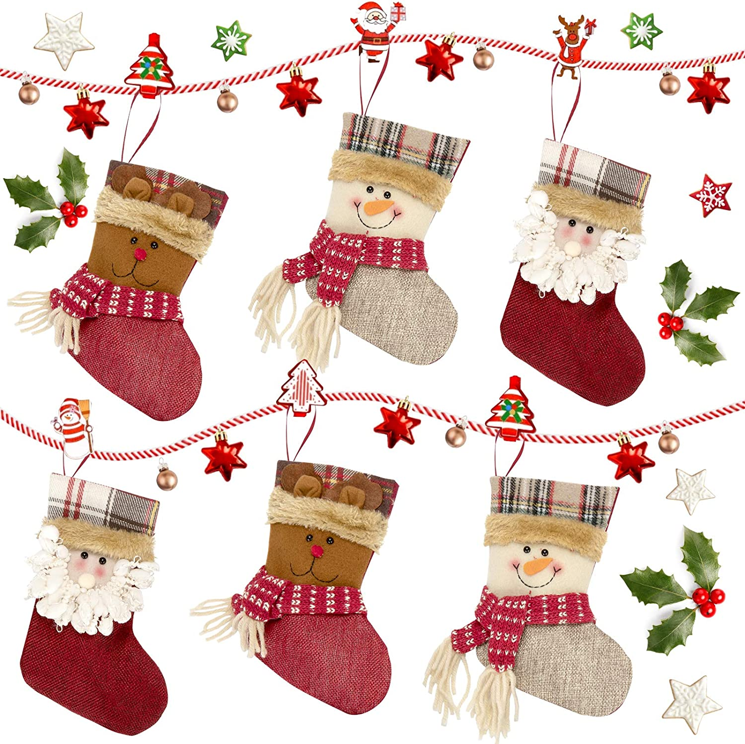 Red /& White Xmas Stockings Gift /& Candy Pouch Bag For Family Holiday Xmas Party Decorations Ucradle Christmas Stockings 6 Packs 7.5 Inches With Santa Claus Snowman Elk Pattern