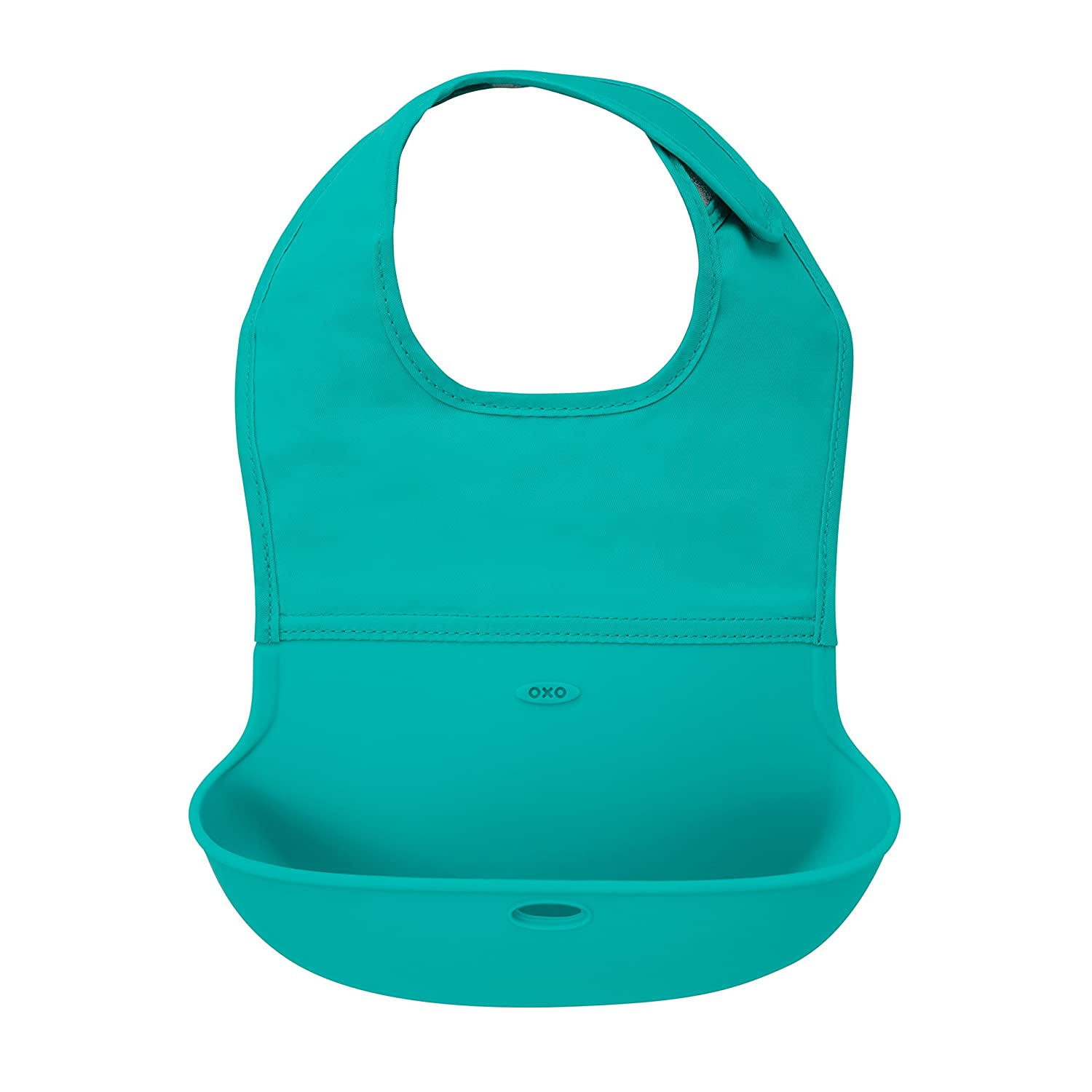 OXO Tot Waterproof Silicone Roll Up Bib with Comfort-Fit Fabric Neck, Teal 61135500