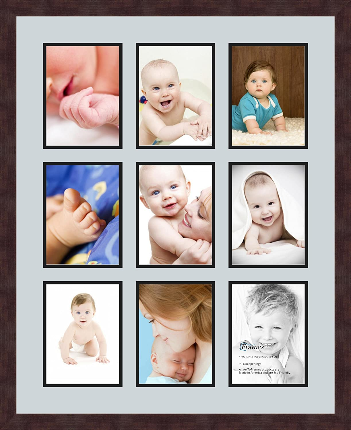 Art to Frames Double-Multimat-1049-860//89-FRBW26061 Collage Frame Photo Mat Double Mat with 9-6x8 Openings and Espresso Frame