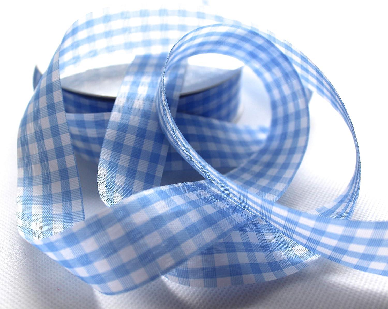 CaPiSo/® Karoband Vichy Geschenkband Landhaus Schleifenband Vichykaro Dekoband Gro/ßes Karo Hellblau 50m 25mm