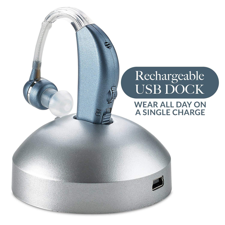Amplificador de audición digital - Amplificador de sonido de mejora auditiva personal con duración prolongada de la batería de más de 500hr, azul moderno.
