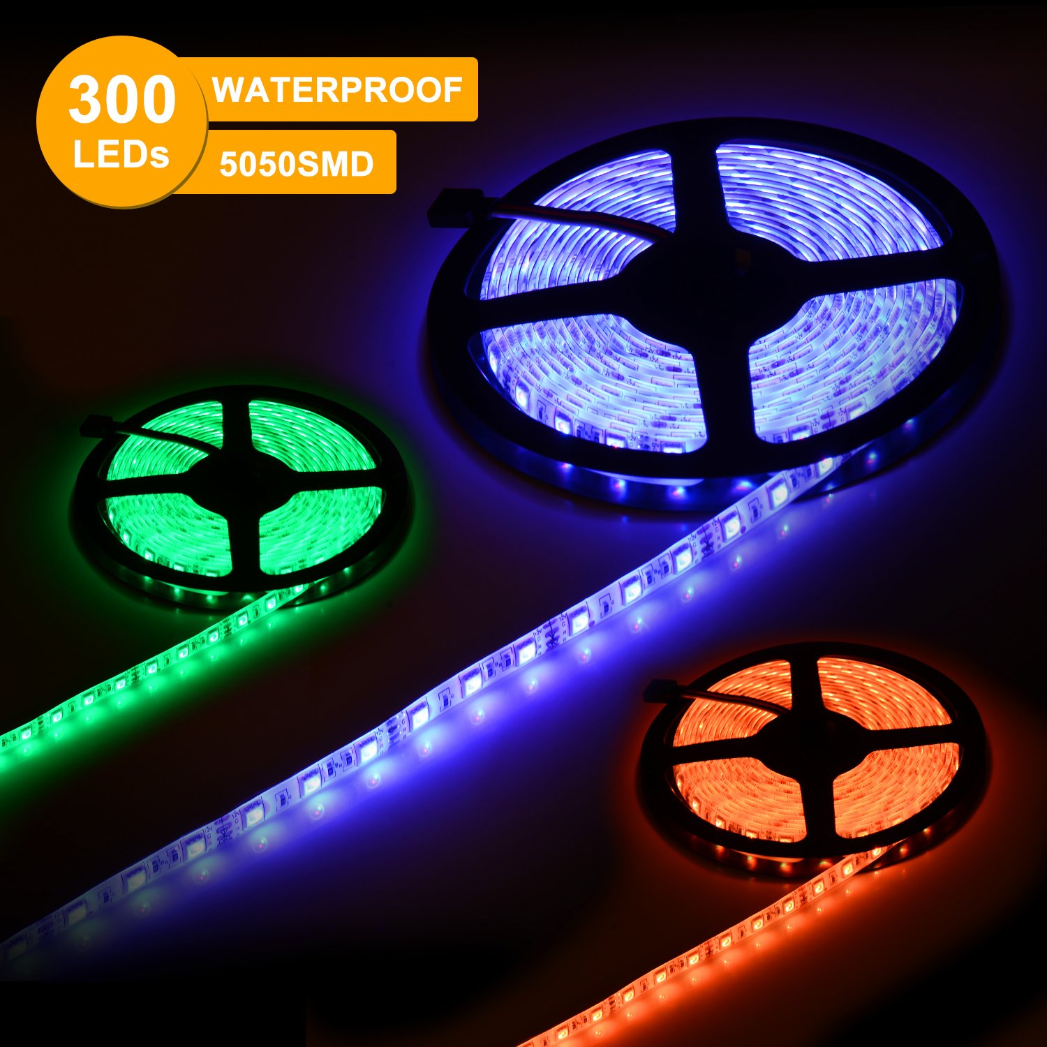 SUNNEST Music Activated LED Strip Light Kit, Waterproof 16.4ft 300 LEDs RGB SMD 5050 LED Tape with Remote Controller, IR Receiver, Power Supply, Sync with Music by SUNNEST (Image #4)