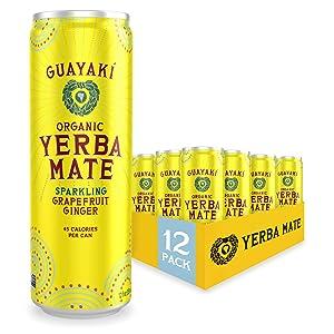 Guayaki Yerba Mate | Organic Alternative to Herbal Tea, Coffee and Energy Drink | Sparkling Grapefruit Ginger | 80 mg of Caffeine | 12 Oz | Pack of 12