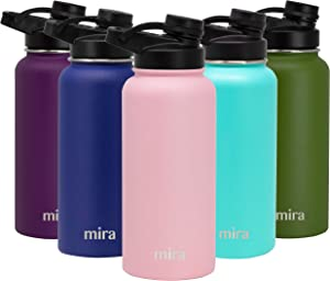 MIRA 32 oz Stainless Steel Insulated Sports Water Bottle - Hydro Metal Thermos Flask Keeps Cold for 24 Hours, Hot for 12 Hours - BPA-Free Spout Lid Cap - Taffy Pink