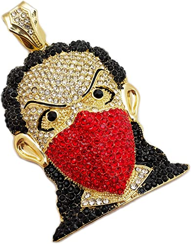 HIP HOP ICED OUT LAB DIAMOND WHITE GOLD PLATED RED MASKED GOON BLING PENDANT