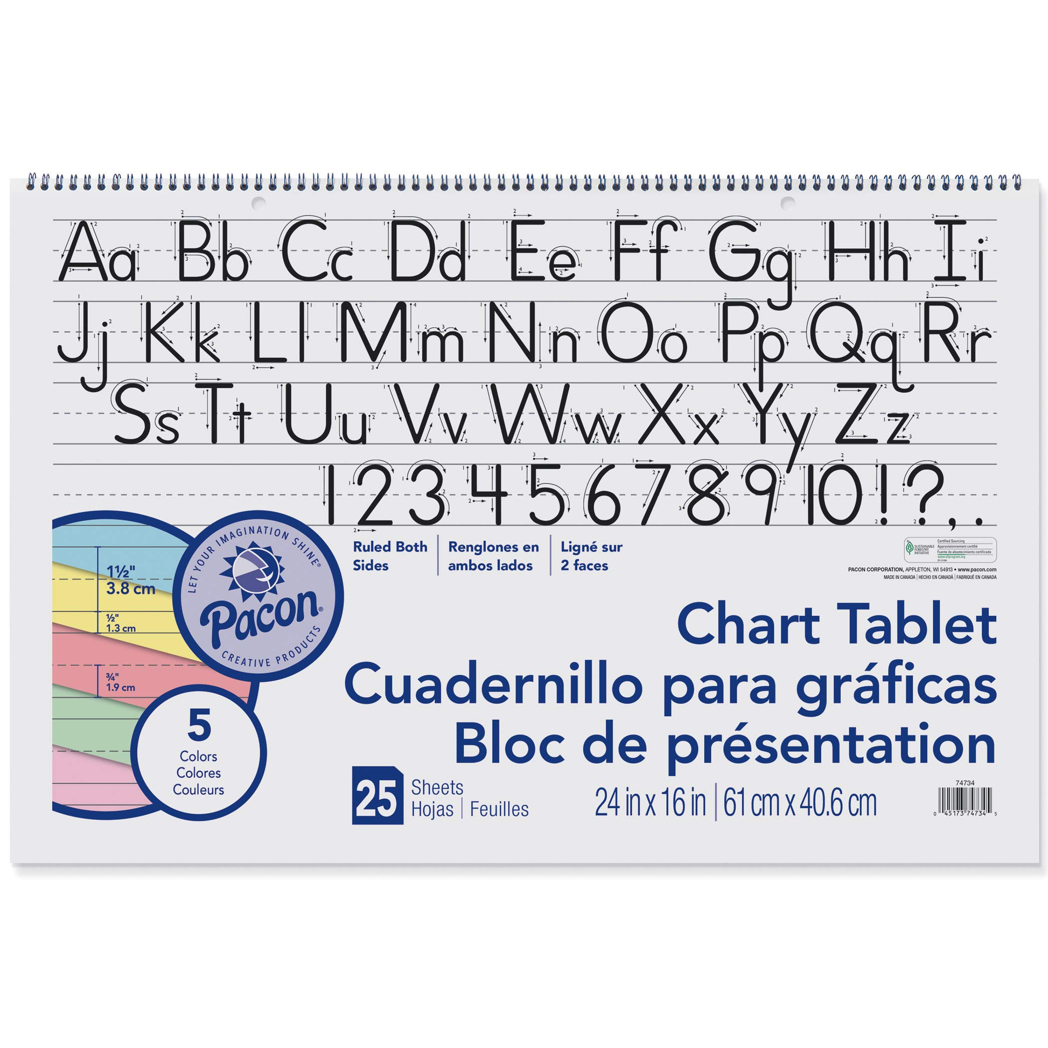 Pacon PAC74734BN Chart Tablet, Manuscript Cover, Assorted 5 Colors Inside, 1-1/2'' Ruled, 24'' x 16'', 25 Sheets, Pack of 2