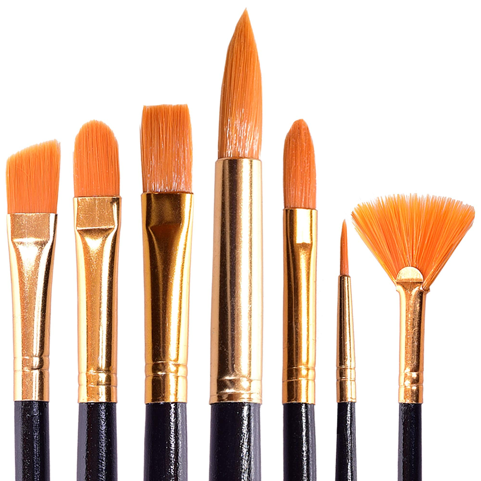 Acrylic Paint Brushes Set for Art Crafts - Face Body Makeup Painting - Watercolor Oil Brush Painting Gouache Blending - Fabric Set of 7 Types of Brushes for Adults and Kids with a Black Handle by vaola art