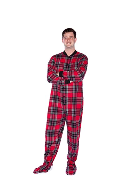 a94dcecf39a2 Red   Black Plaid Cotton Flannel Adult Footie Onesie Footed Pajamas with  Drop seat for Men and Women