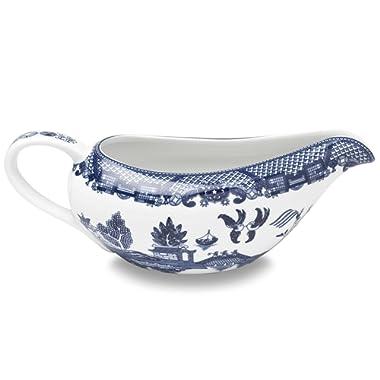 HIC Harold Import Co. YK-337 HIC Blue Willow Gravy Boat, Fine White Porcelain, 20-Ounces
