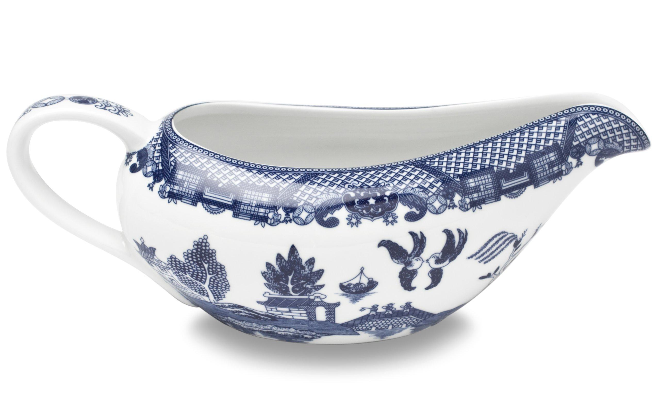 HIC Harold Import Co. YK-337 Blue Willow Gravy Boat, Fine White Porcelain, 20-Ounces