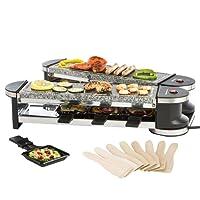 Ultratec-Cuisine Raclette RG1200S, Gril articulé Duo 4, four à Raclette avec Pierres naturelles de Cuisson 8Personnes, 1.200W