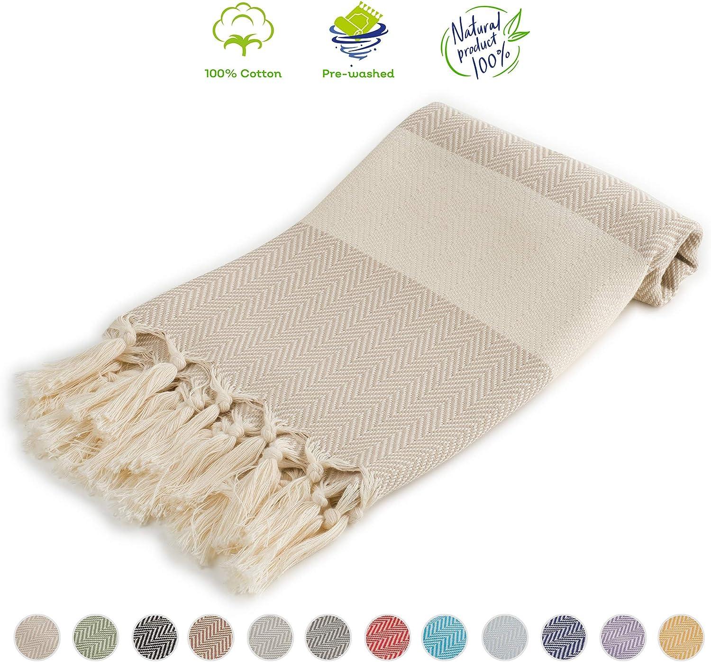 "Cozy Herringbone | 100% Cotton Original Turkish Hand Towel (24.5"" x 39"") - Pre-Washed Peshtemal, Pool, Gym, Spa, Hammam, Kitchen, Bath Towel, Eco-Friendly (Beige, Hand Towel Size)"