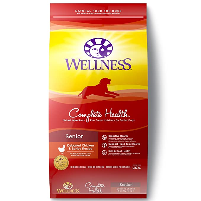 Wellness Complete Health Natural Dry Senior Dog Food - Best Dry Food for Old Dogs with Pancreatitis