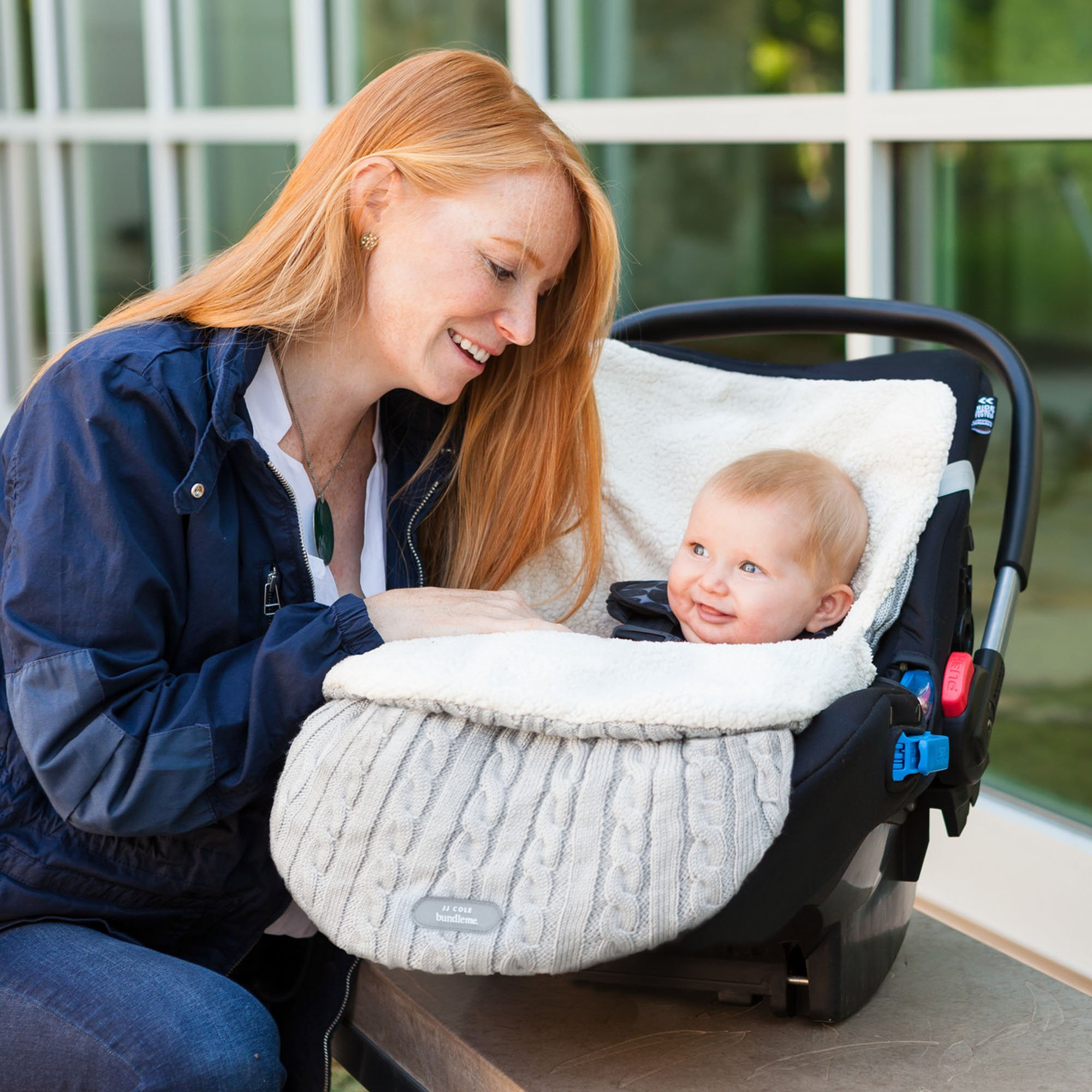 JJ Cole - Knit Bundleme Set, Blanket Cover to Protect Baby from Cold Weather with Car Seats and Strollers, Graphite, Birth to 1 Year by JJ Cole (Image #3)