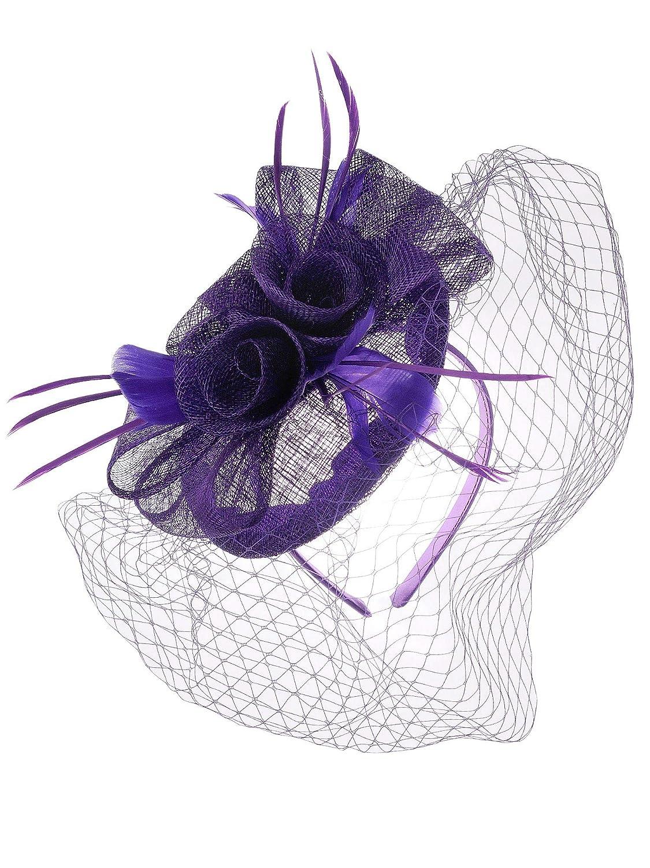 NYFASHION101 Cocktail Elegant Ruffle Flower and Feather Mesh Sinamay Fascinator Headband