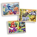 Melissa & Doug 3-Puzzle Wooden Jigsaw Set - Dinosaurs, Ocean, and Safari