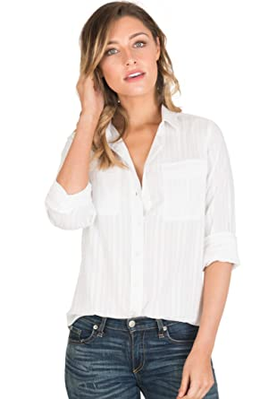 41057a24 CAMIXA Womens White Shirt 100% Cotton Casual Two Pockets Button-Down Blouse  Top XS. Roll over image to zoom in