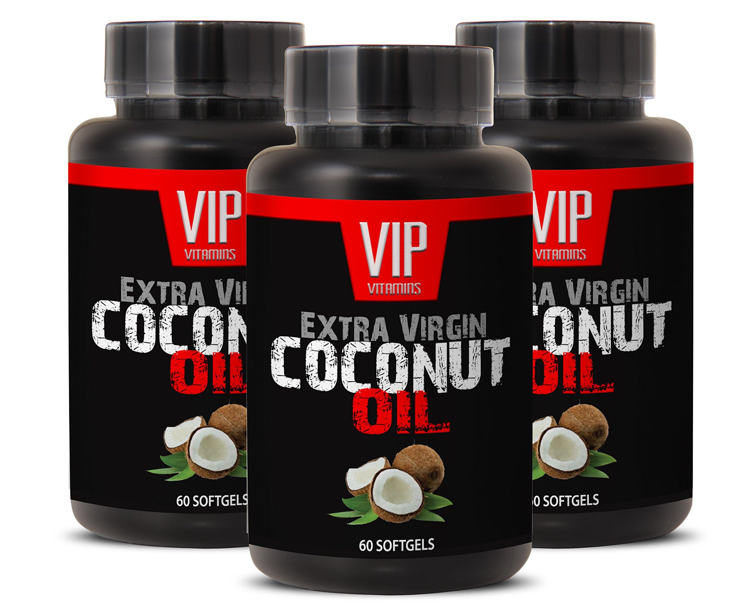 Metabolism booster - EXTRA VIRGIN COCONUT OIL - Coconut brain - 3 Bottles 180 Softgels