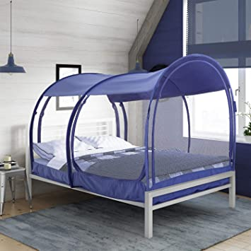 Alvantor Mosquito Net Bed Canopy Bed Tents Dream Tents Privacy Space Twin Size Sleeping Tents Indoor Pop Up Portable Frame Breathable Cottage Navy