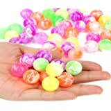 Fun Central (AZ949) 4 dozens Neon Bouncing Balls Bulk Kit for kids, Rubber Swirl Bouncing Ball, High bouncing ball- For Kids Party Favors, Bag Stuffers, Pinata Fillers, Gifts, Prizes
