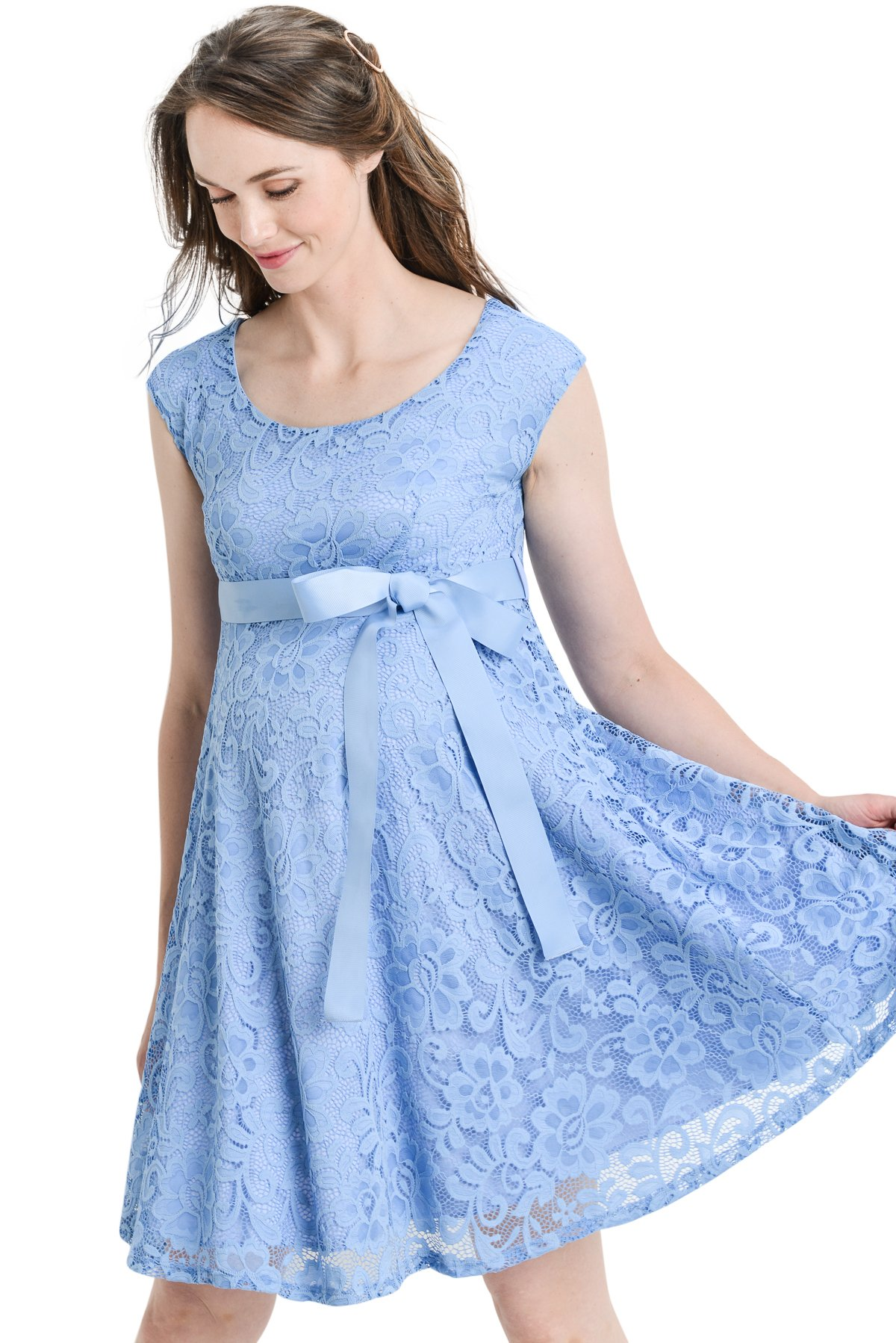 Hello MIZ Floral Lace Baby Shower Party Cocktail Dress with Satin Waist Maternity Dress (Small, Sky Blue)