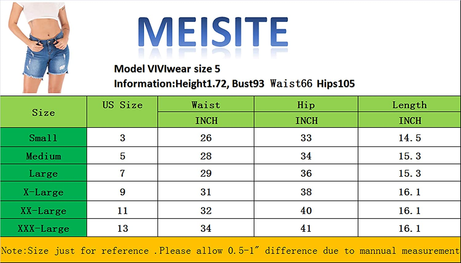 MEISITE Womens Juniors Denim Shorts High Waist Ripped Hole Washed Distressed Short Jeans