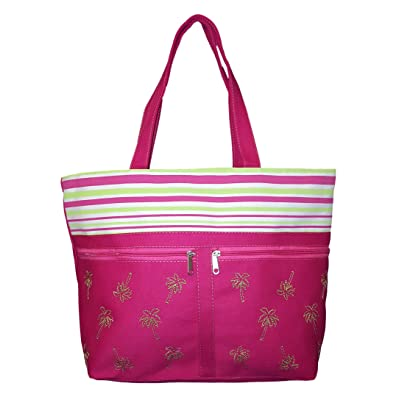 Palm Tree and Striped Tote Beach Bag with Front Pockets - Personalization Available
