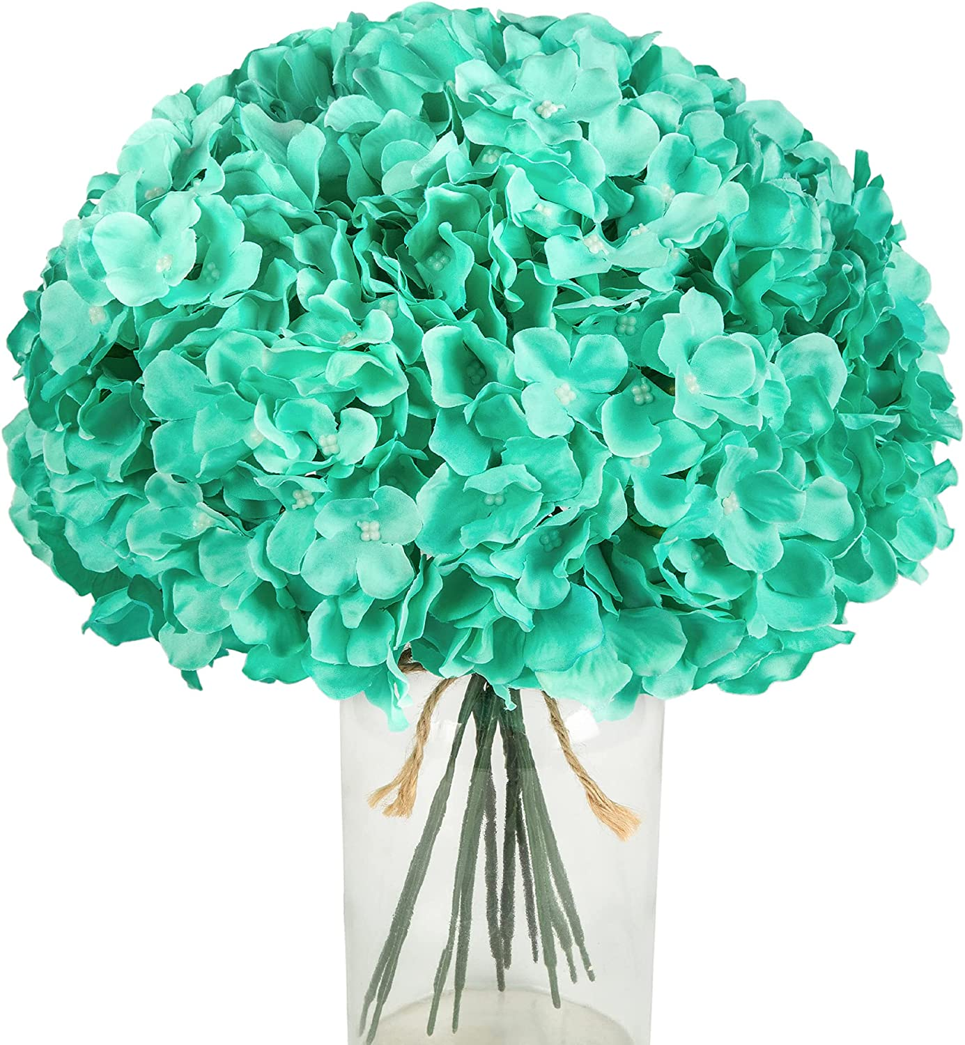 PaoriPets 10pcs Hydrangea Silk Flowers Heads with Stems Artificial Hydrangea Flowers for Wedding Home Party Baby Shower Decor (Tiffany Blue)