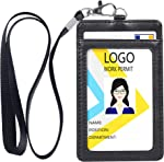 Badge Holder, Vertical Double PU Leather ID Badge Holder with 1