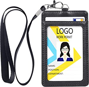 Badge Holder, Vertical Double PU Leather ID Badge Holder with 1 Clear ID Window & 1 Credit Card Slot and a Detachable Neck Lanyard (Black)