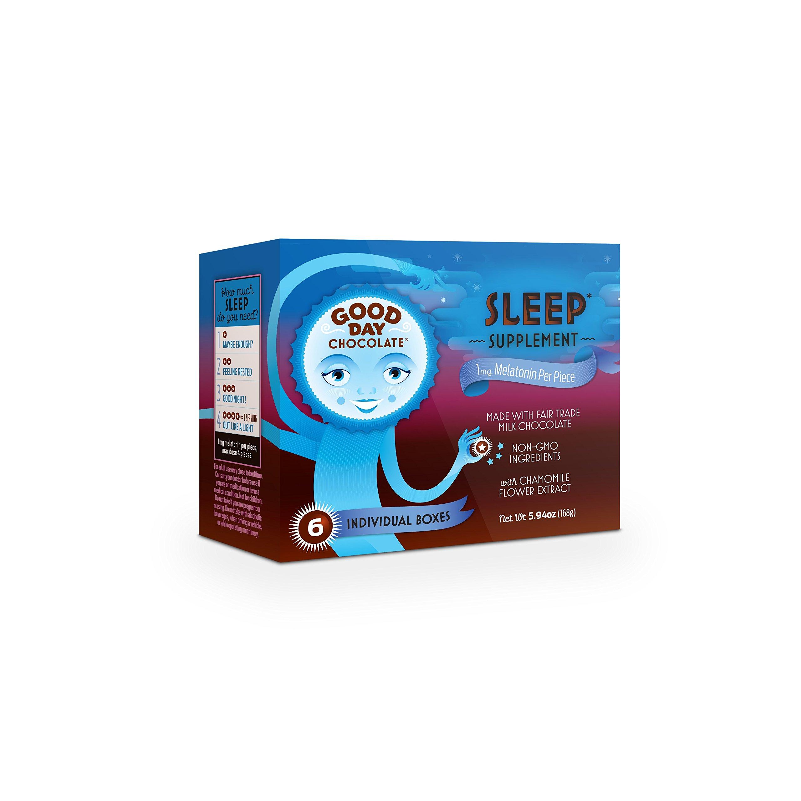 Good Day Chocolate Melatonin Supplement, Natural Sleep Aid (6 Pack)