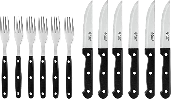 Russell Hobbs 12 Piece Steak Knife And Fork Set Black Home Kitchen Amazon Com