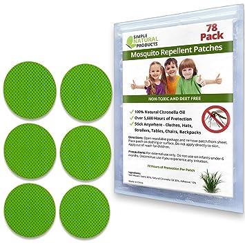 Repelente de mosquitos parche por Simple productos naturales (78 unidades) repelente de insectos para