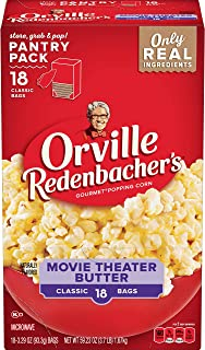 product image for Orville Redenbacher's Movie Theater Butter Microwave Popcorn, (18 Count of 3.29 oz Bags) 59.23 oz, Pack of 4