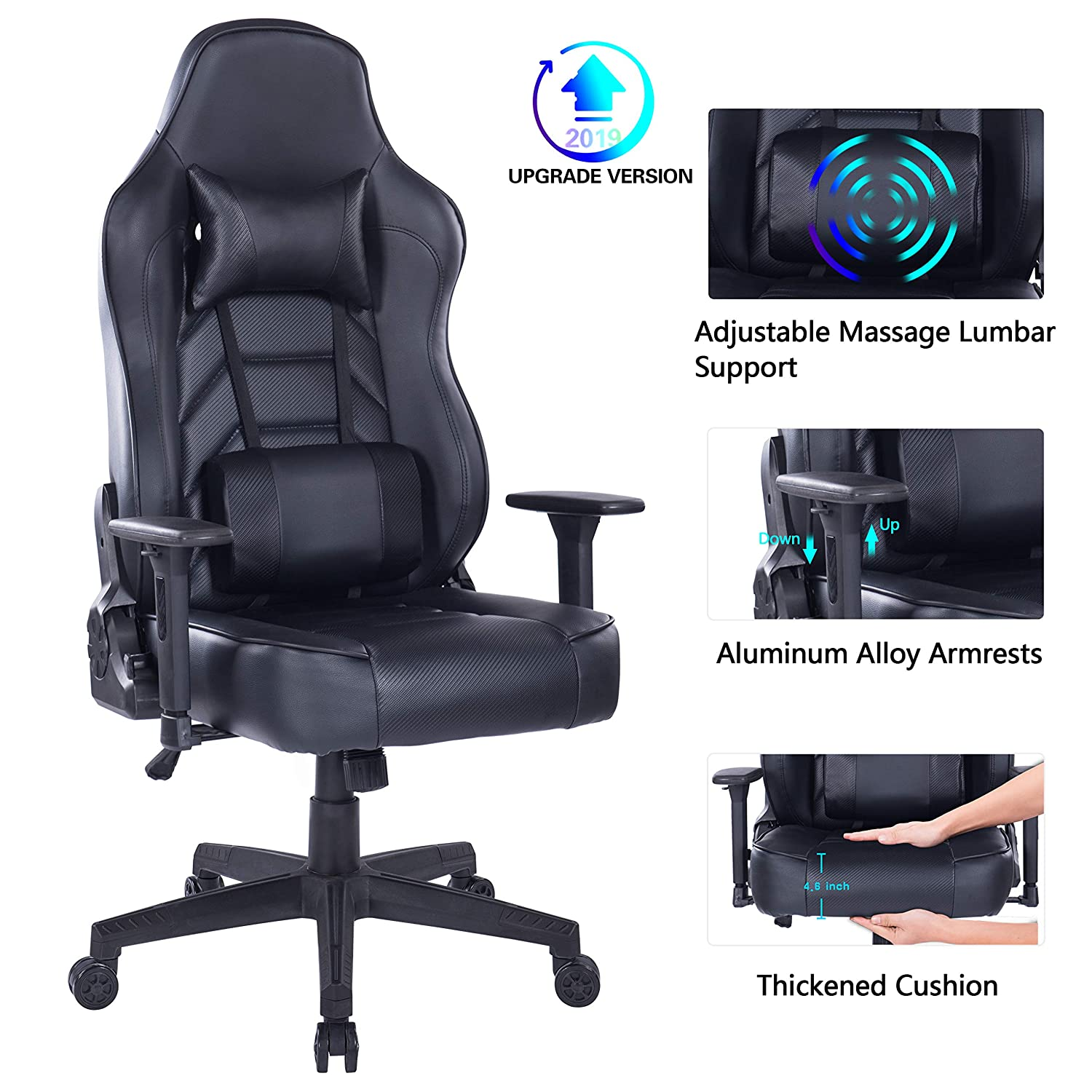 Blue Whale Gaming Chair with Massage Lumbar Pillow, PC Computer Video Game Racing Chair Reclining Executive Ergonomic Office Desk Chair with Headrest BW 291Black
