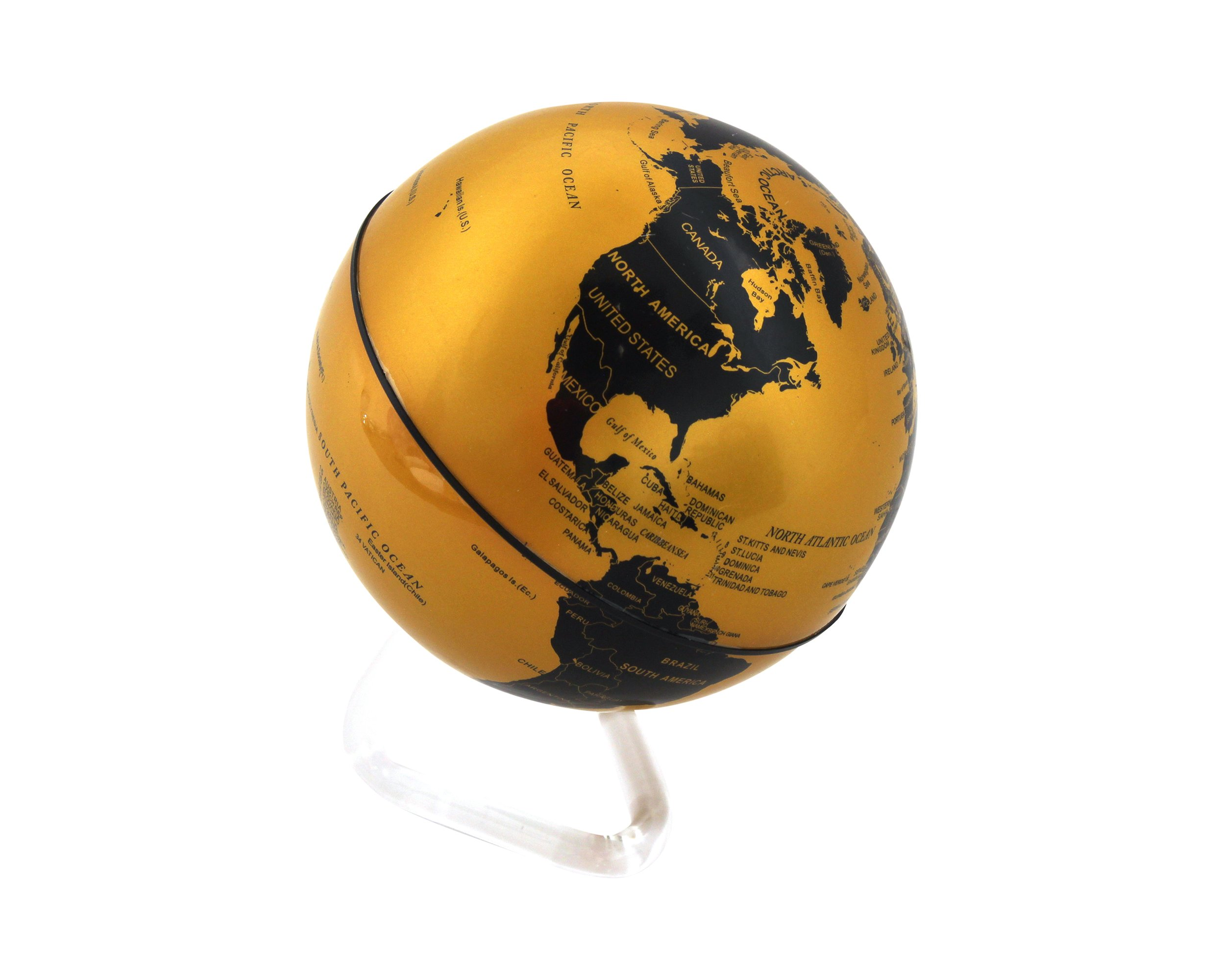 Self Rotating Globe - Auto Spinning Desk Rotary Globe with Color Changing LED- Revolving Globe - World, Planet Earth Globe Sphere - Home, Office Desktop Decoration - Educational (Gold/Black, 4'')
