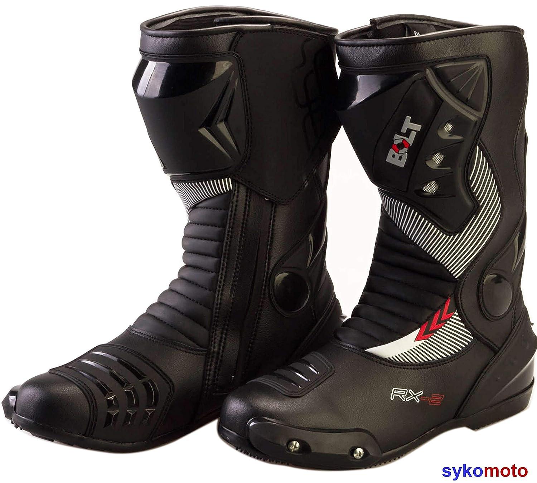 45 EU//11 UK BOLT S12 Deportes Proteccion Motocicleta Carreras Deslizador Impermeable Negro Botas