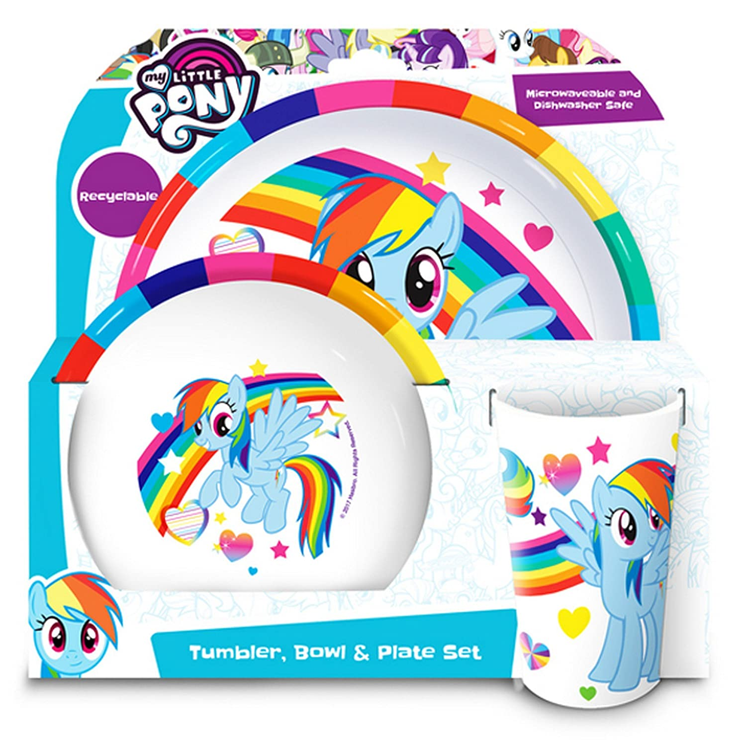 My Little Pony Official Childrens Girls 3 Piece Dinner Set (One Size) (White) UTSG11390_1