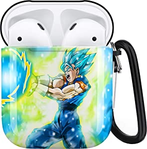 Dragon Ball Z Goku AirPods Case Personalize Custom, AirPods Case Cover Compatible with Apple AirPods 1st/2nd,Full Protective Durable Shockproof Drop Proof with Key Chain Compatible