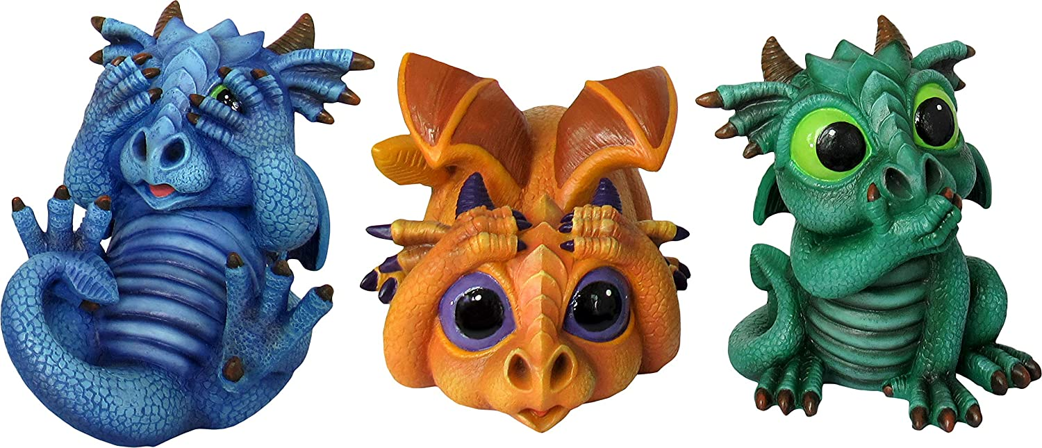 World of Wonders - Dreamland Dragons Series - Trio of Trouble - Set of Three (3) Collectible See Hear Speak No Evil Dragon Figurines Periwinkle Treasure and Jade Fantasy Home and Garden Decor Accents