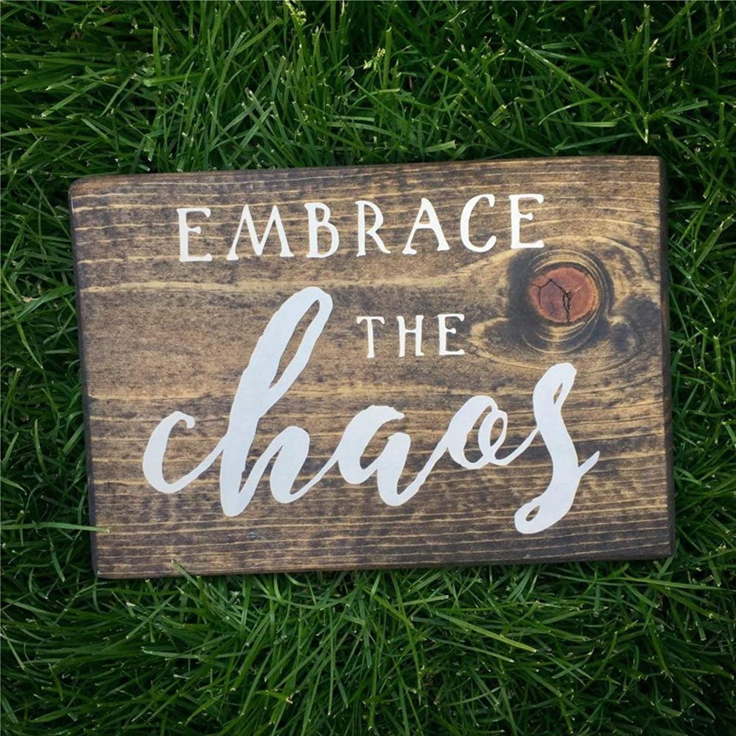 BYRON HOYLE Embrace The Chaos Stained Wood Sign Painted Family Room Decor Wood Plaque Wall Art Wall Hanger Home Decor