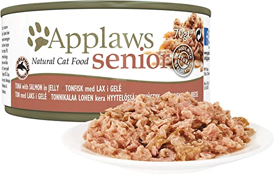 Applaws Natural Complete Wet Cat Food For Senior Cats Tuna With Salmon In Broth 70 G Tin Pack Of 24 Amazon Co Uk Pet Supplies