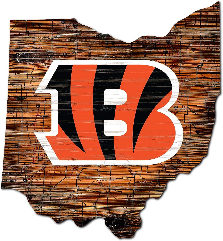 Fan Creations NFL Cincinnati Bengals Unisex Cincinnati Bengals Mini Roadmap State Sign, Team Color, 12 inch